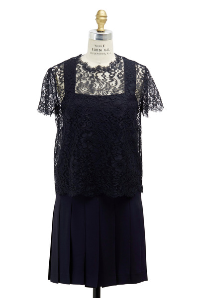 Valentino - Navy Blue Silk Popover Dress