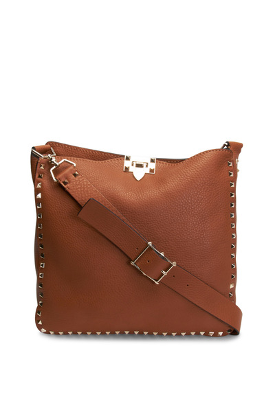 Valentino Garavani - Rockstud Cognac Pebbled Leather Hobo