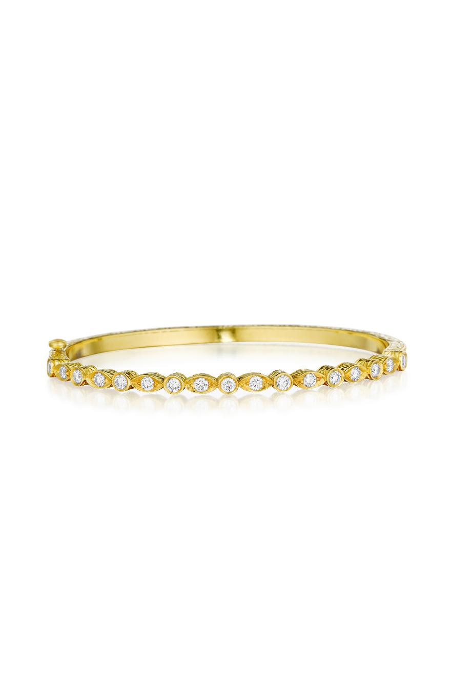 Yellow Gold Diamond Hinged Bangle Bracelet