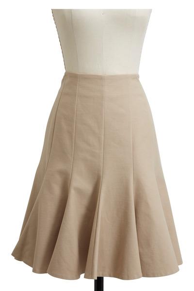 Paule Ka - Tan Pique Stretch Flared Skirt