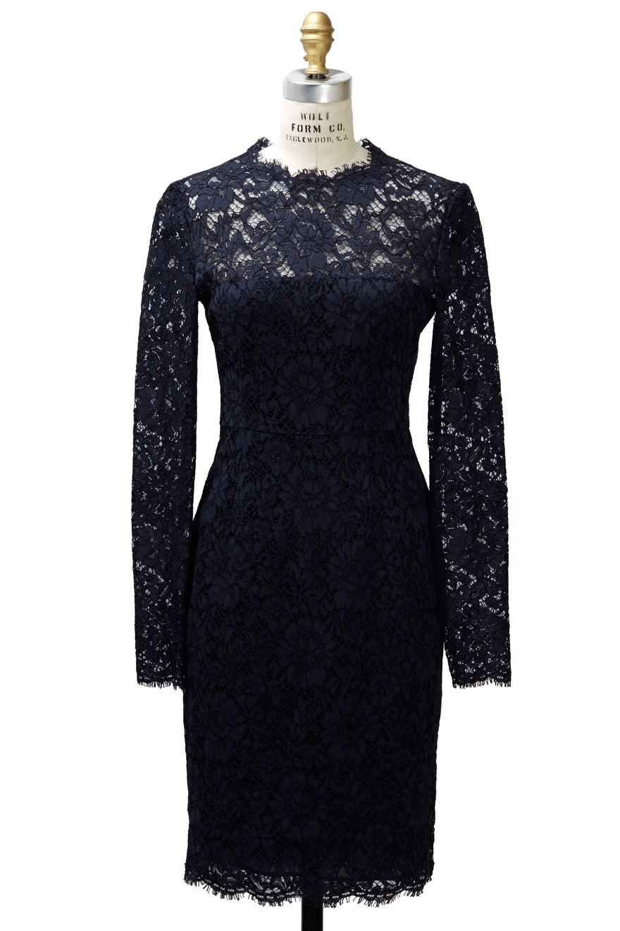 Navy Blue Long Sleeve Lace Dress
