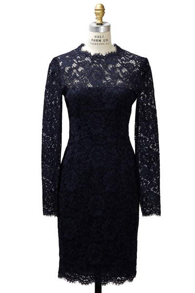 Valentino - Navy Blue Long Sleeve Lace Dress