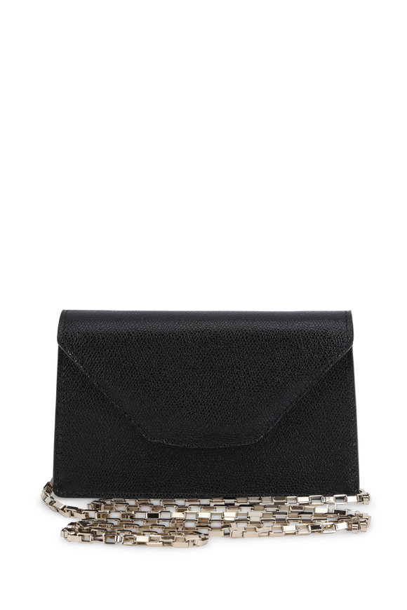 Valextra Black Leather Flap Front Chain Clutch