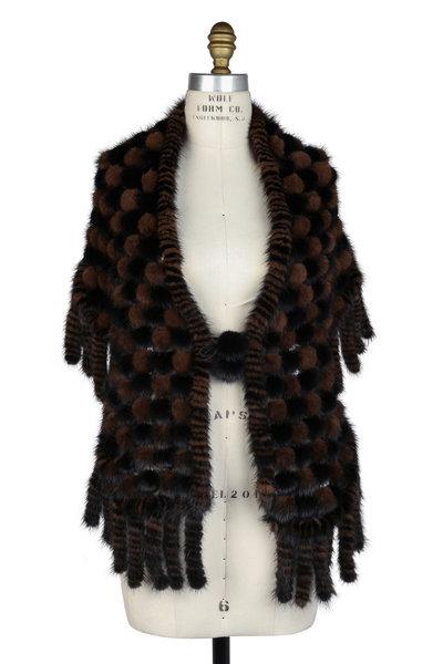 Viktoria Stass - Black & Brown Mink Pompom Triangle Shawl