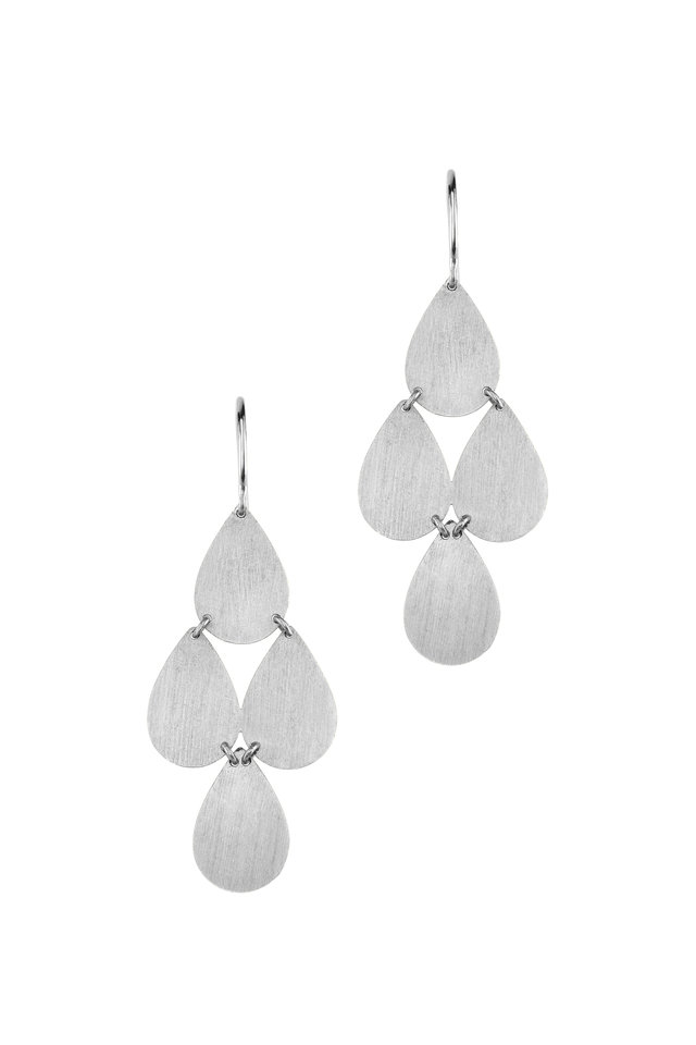 18K White Gold Teardrop Chandelier Earrings