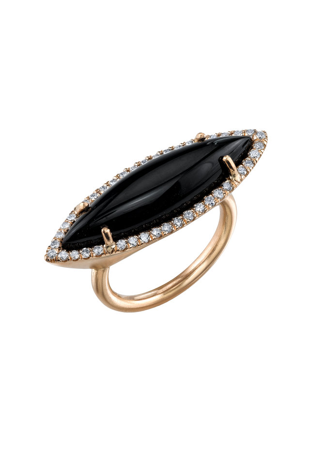 18K Rose Gold Onyx & Diamond Ring