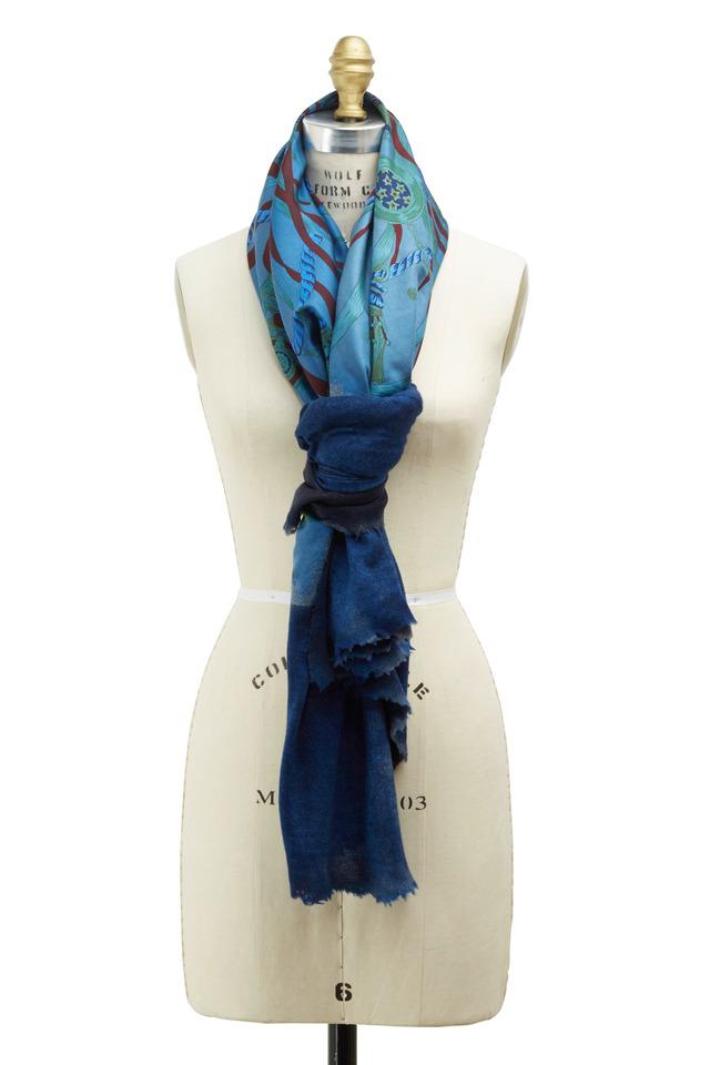 Vintage Blue Cashmere & Silk Square Scarf