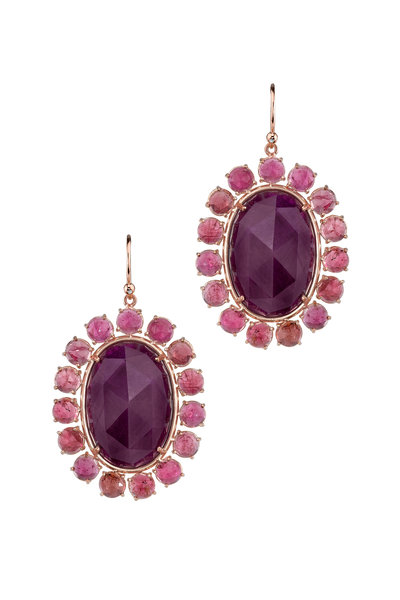 Irene Neuwirth - 18K Rose Gold Ruby & Pink Tourmaline Earrings