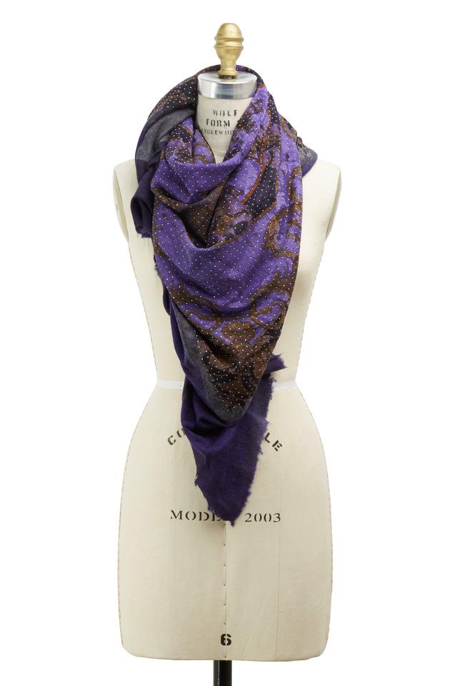 Vintage Charcoal & Purple Studded Scarf
