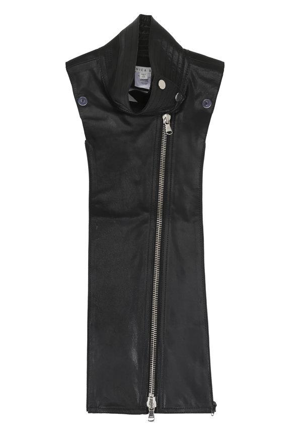 Veronica Beard Black Leather Moto Dickey