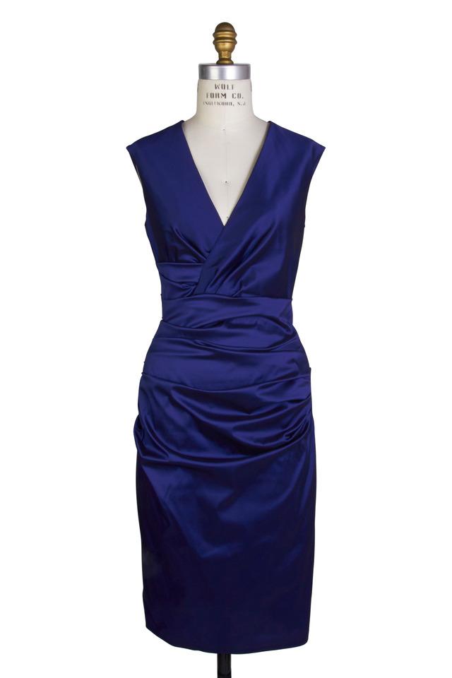 Navy Blue Taffeta Sleeveless Cocktail Dress