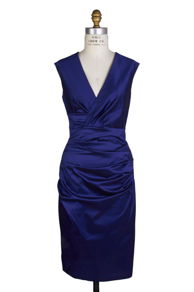 Talbot Runhof - Navy Blue Taffeta Sleeveless Cocktail Dress
