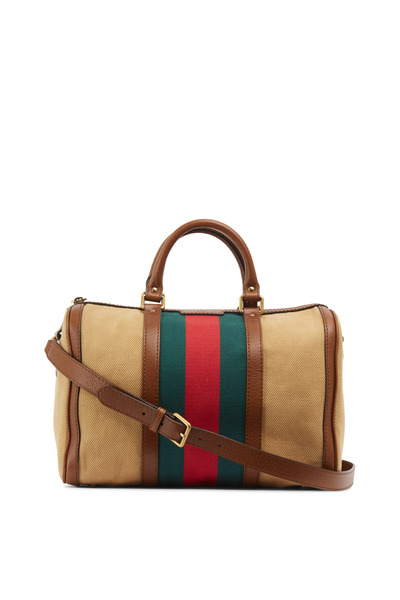 Gucci - Vintage Web Boston Natural Cotton Top Handle Bag