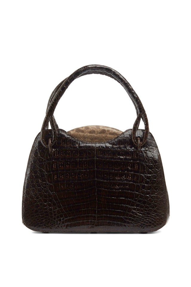 Brown Shiny Crocodile Natural Karung Trim Handbag