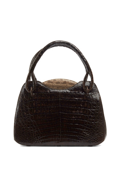Nancy Gonzalez - Brown Shiny Crocodile Natural Karung Trim Handbag