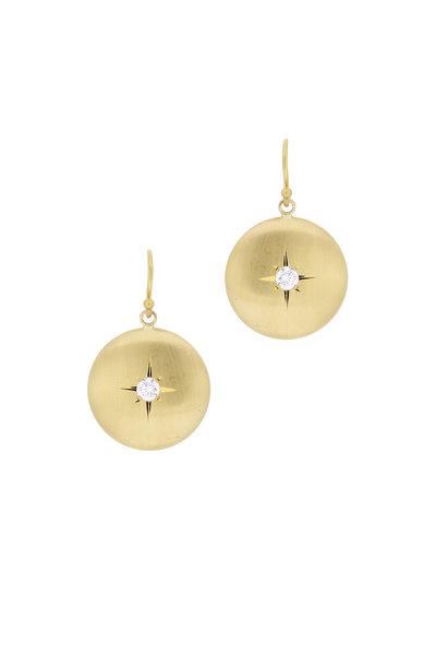 Caroline Ellen - 20K Yellow Gold Diamond Lentil Earrings