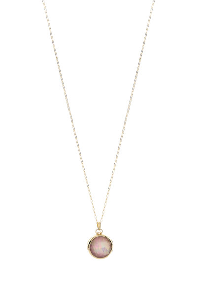 "Monica Rich Kosann - 18K Yellow Gold Rock Crystal ""A"" Locket Necklace"