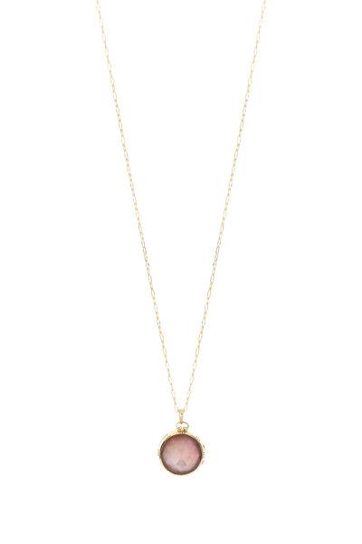 "Monica Rich Kosann - 18K Yellow Gold Rock Crystal ""K"" Locket Necklace"