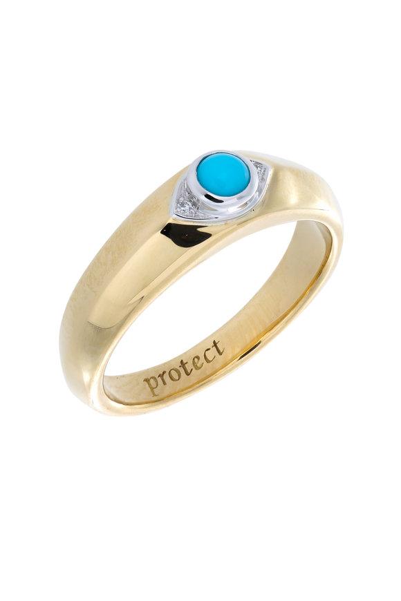 "Monica Rich Kosann 18K Yellow Gold Turquoise ""Protect"" Posey Ring"