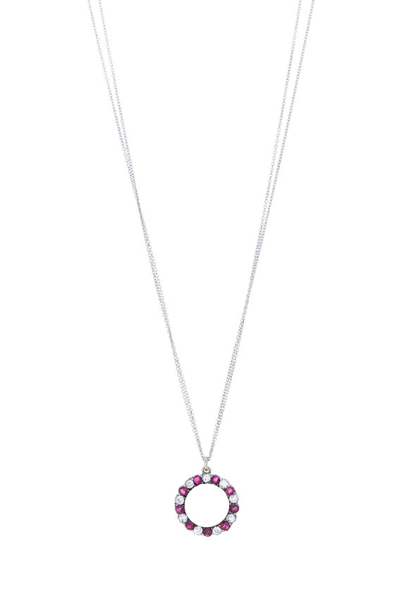 Renee Lewis 18K White Gold Diamond, Ruby & Moonstone Necklace