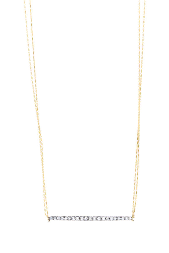 Renee Lewis 18K Yellow Gold Antique Diamond Bar Necklace