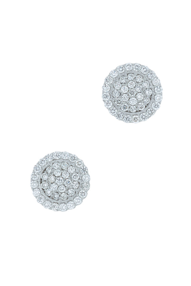 White Gold Scallop Pavé Diamond Earrings