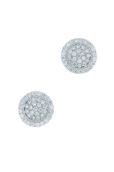 Jamie Wolf - White Gold Scallop Pavé Diamond Earrings