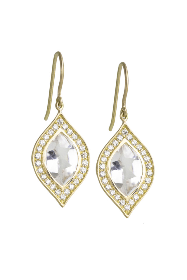 Gold White Topaz Marquise-Cut Diamond Earrings