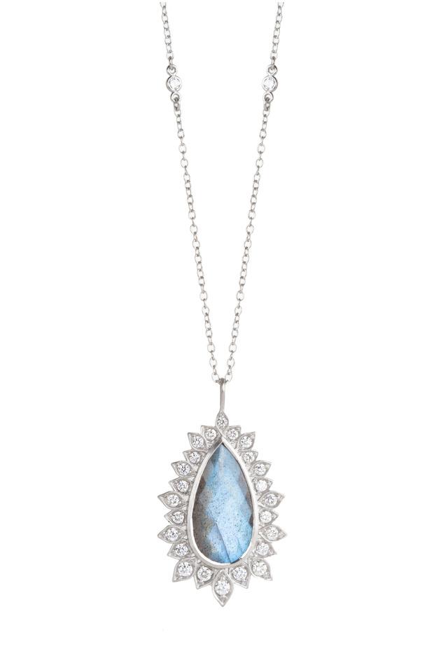Gold Labradorite White Diamond Pendant Necklace