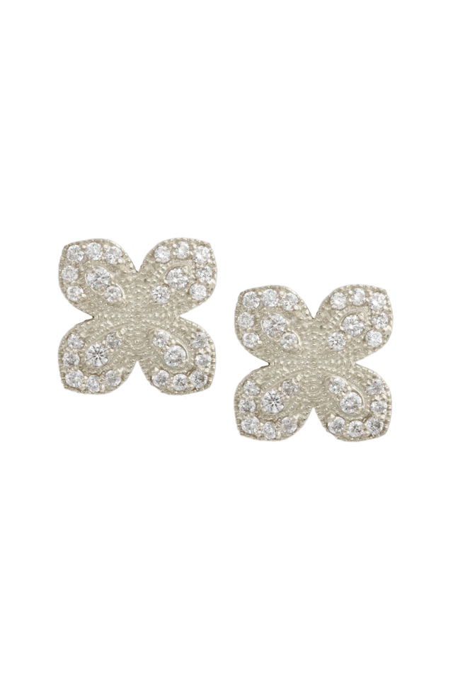 White Gold Scallop Pavé Diamond Petal Earrings