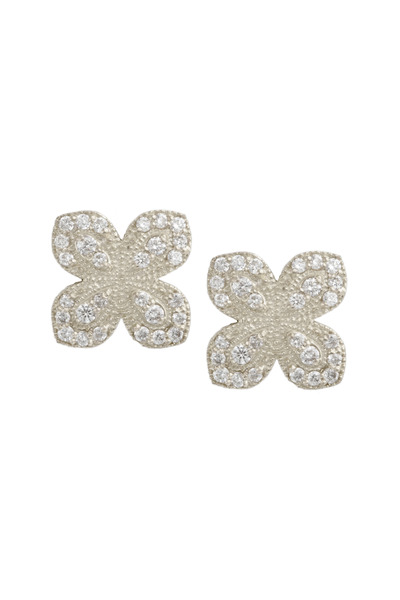 Jamie Wolf - White Gold Scallop Pavé Diamond Petal Earrings