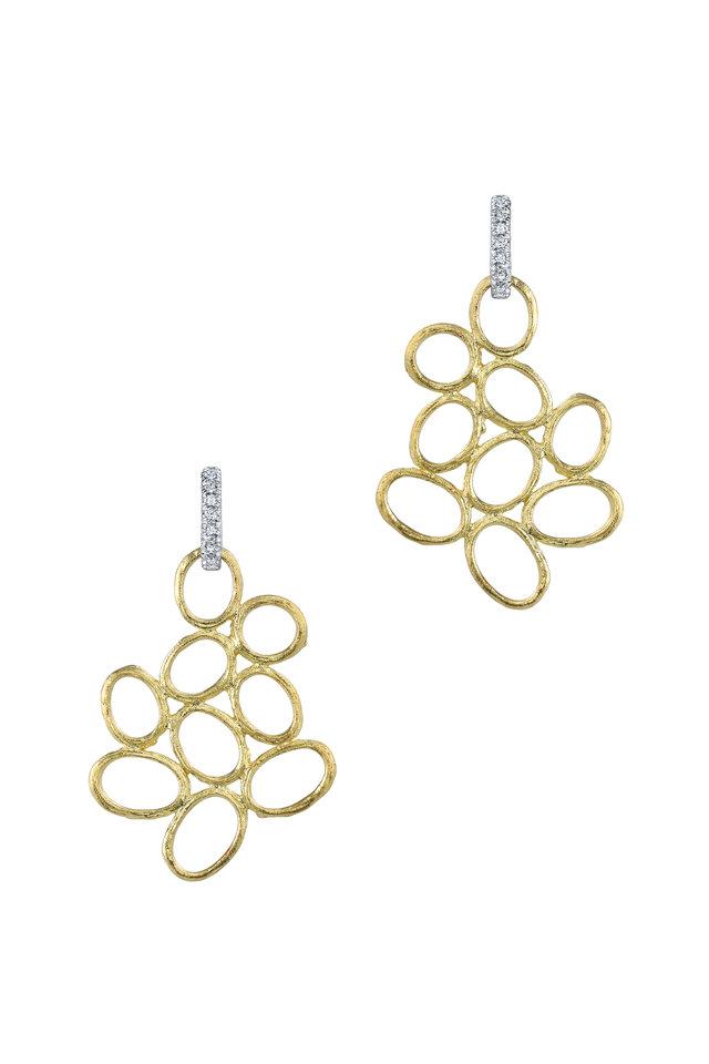 19K Yellow Gold Diamond Olive Branch Earrings