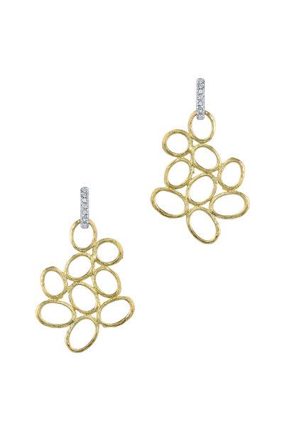 Aaron Henry - 19K Yellow Gold Diamond Olive Branch Earrings