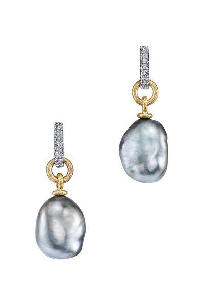 Aaron Henry - 18K Yellow Gold Tahitian Pearl & Diamond Earrings