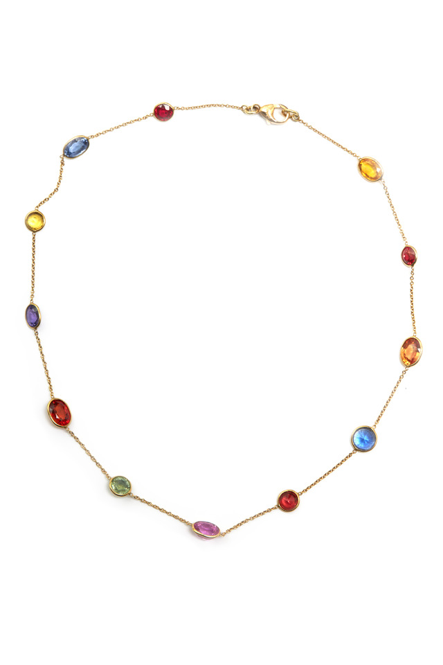 Yellow Gold All-Natural Sapphire Necklace