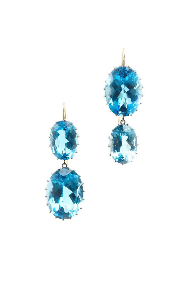 White Gold Blue Topaz Earrings