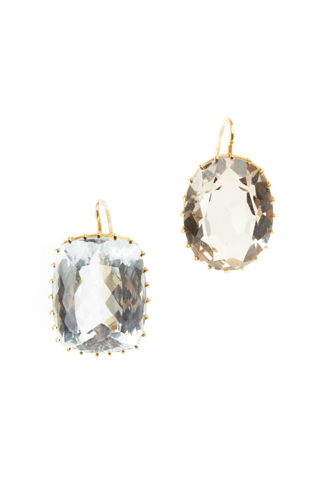Yellow Gold Mismatched Citrine Earrings