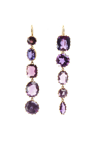 Renee Lewis - Yellow Gold Purple Amethyst Drop Earrings