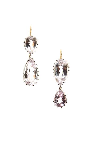 Renee Lewis - White Gold 2-Point Antique Kunzite Earrings