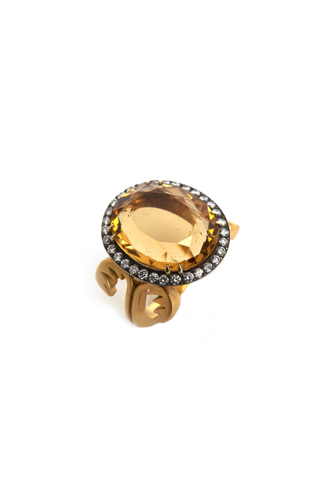 Byblos Yellow Gold & Silver Citrine Diamond Ring