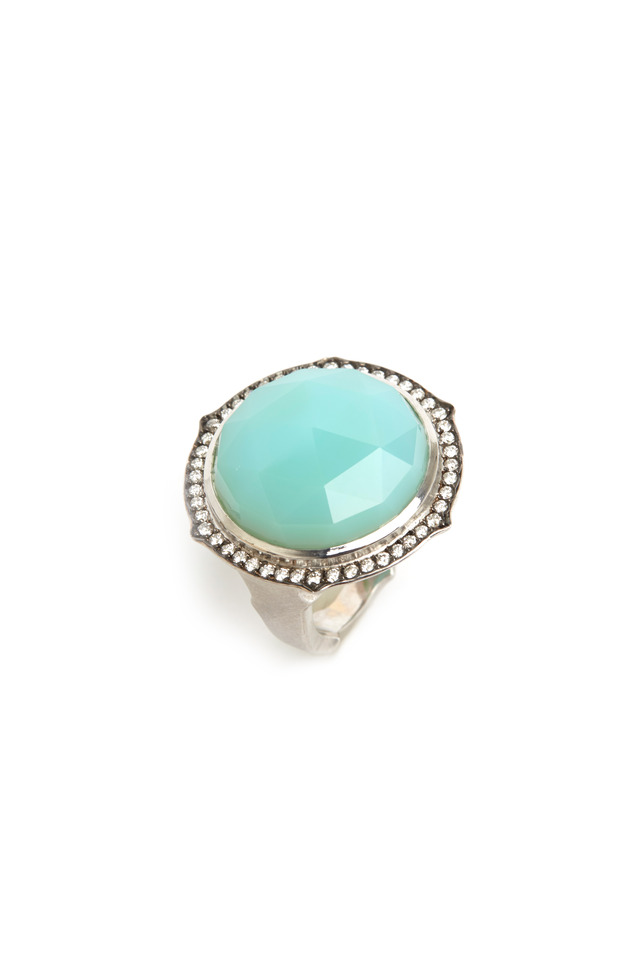 White Gold Chrysoprase Diamond Ring
