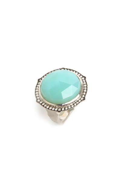 Sylva & Cie - White Gold Chrysoprase Diamond Ring