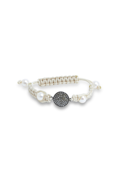 Loren Jewels - Silver White Pearl Diamond Macrame Bracelet