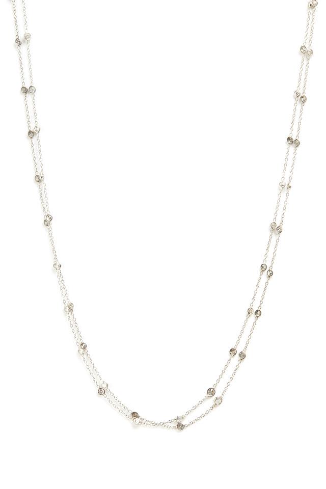 White Gold Double Chain Diamond Necklace
