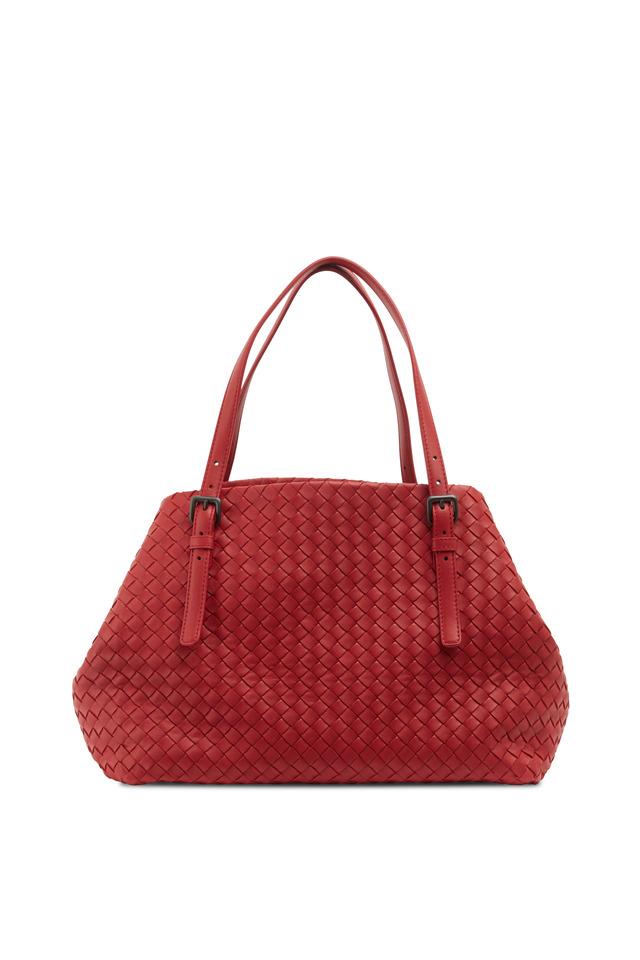 Cabas Red Intrecciato Leather Medium Tote