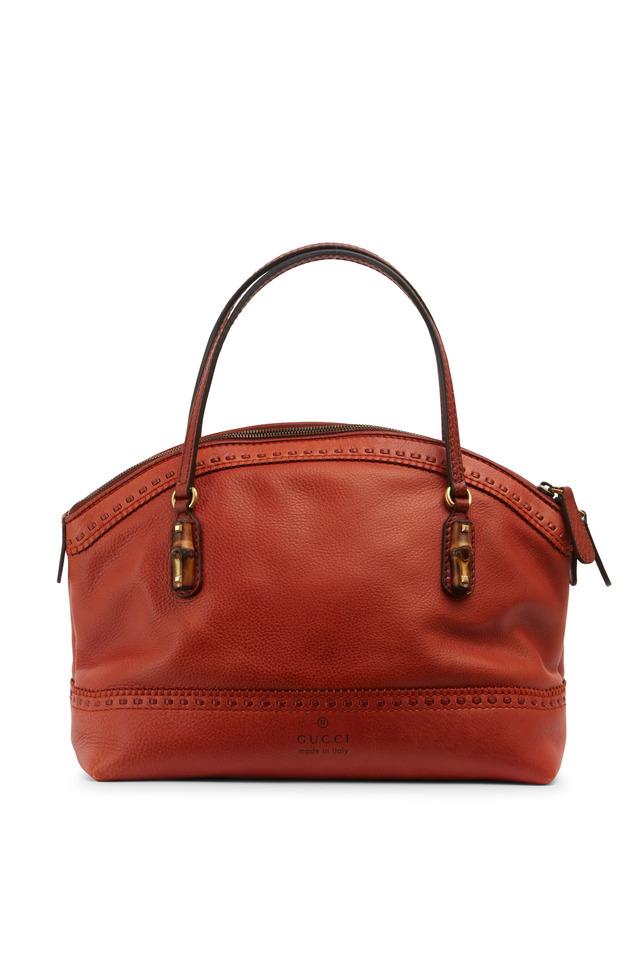 Laid Back Crafty Orange Leather Small Dome Handbag