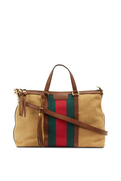 Gucci - Vintage Web Natural Striped Satchel