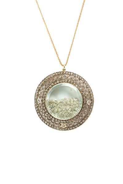 Renee Lewis - Yellow Gold Diamond Rim Shake Necklace