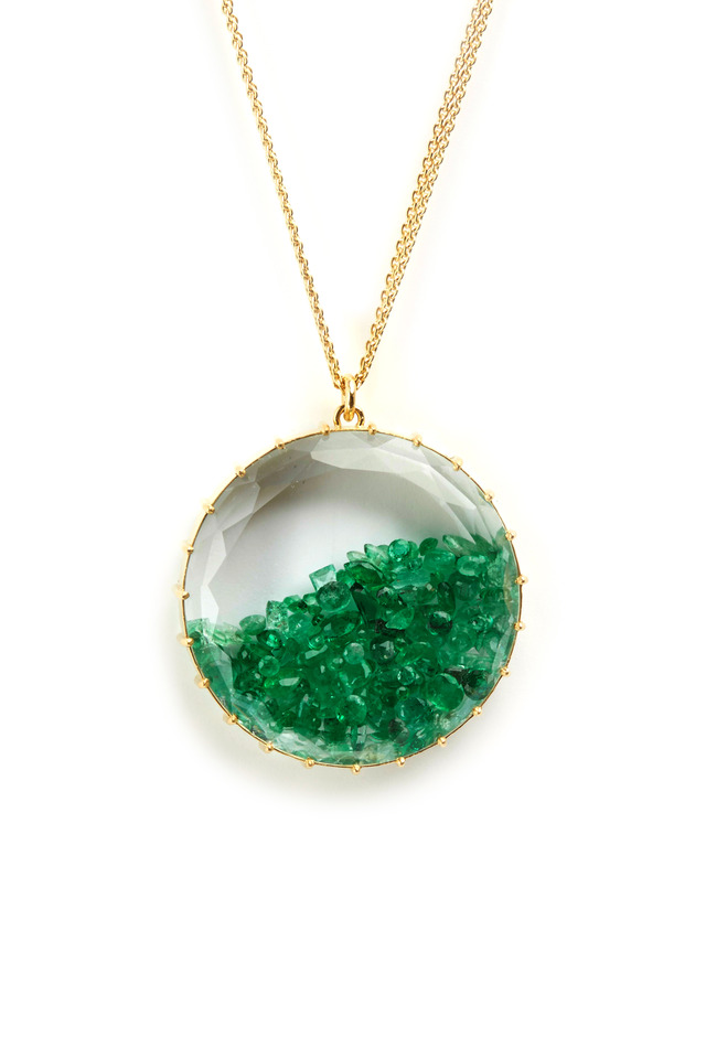 Yellow Gold Emerald Shake Necklace