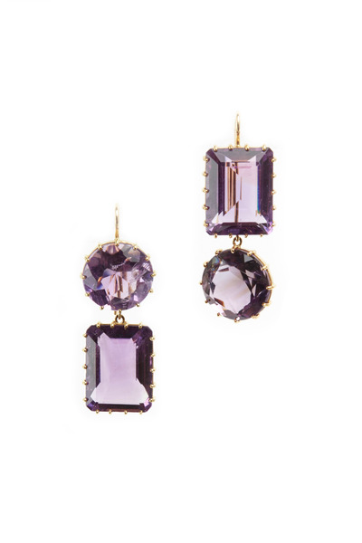 Renee Lewis - Yellow Gold 2-Point Amethyst Earrings